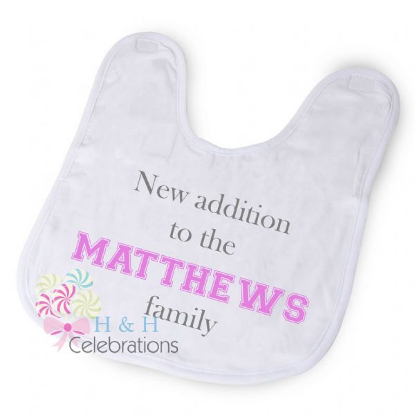 New Addition To The Family Personalised Baby Bib